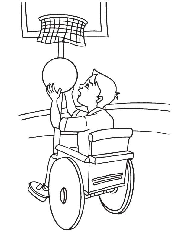 Slam Dunk On Wheelchair Coloring Page Coloring Pages Wheelchair Coloring Sheets