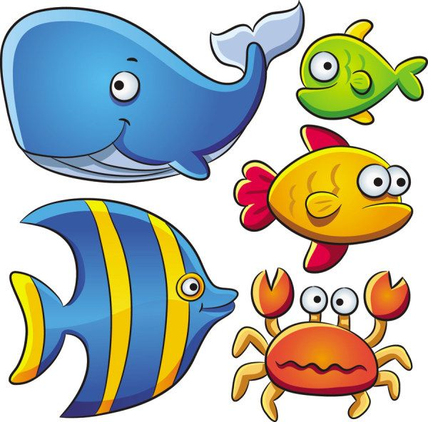Cartoon Marine Animals Vector | Free Vectors, Free Design ...