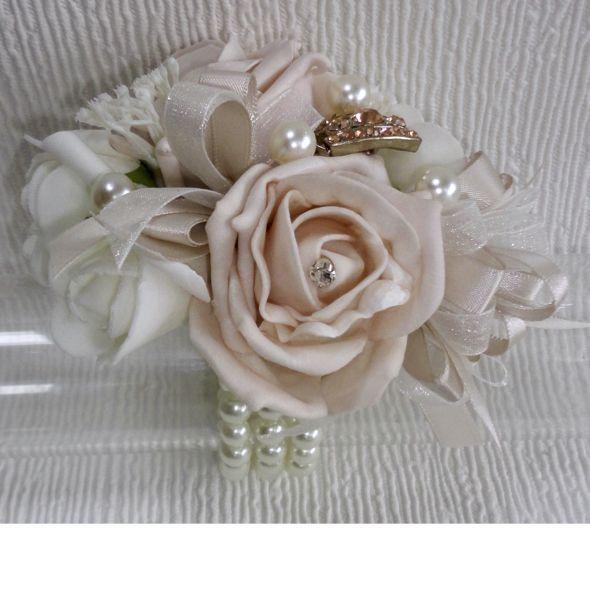 Blush Ivory Wrist Corsage With Rose Gold Diamante Embellishment