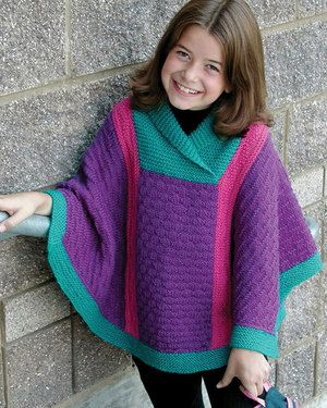 Child's Poncho - Free Knitting Pattern for a Poncho in ...