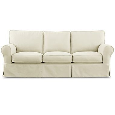 Linden Street Friday Twill Slipcovered Sofa Jcpenney 900 94 W X 39 D Longer Than Pb Or Rowe Nantucket