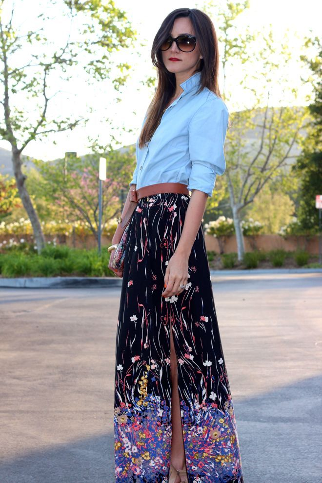 chambray + floral high-slit maxi.