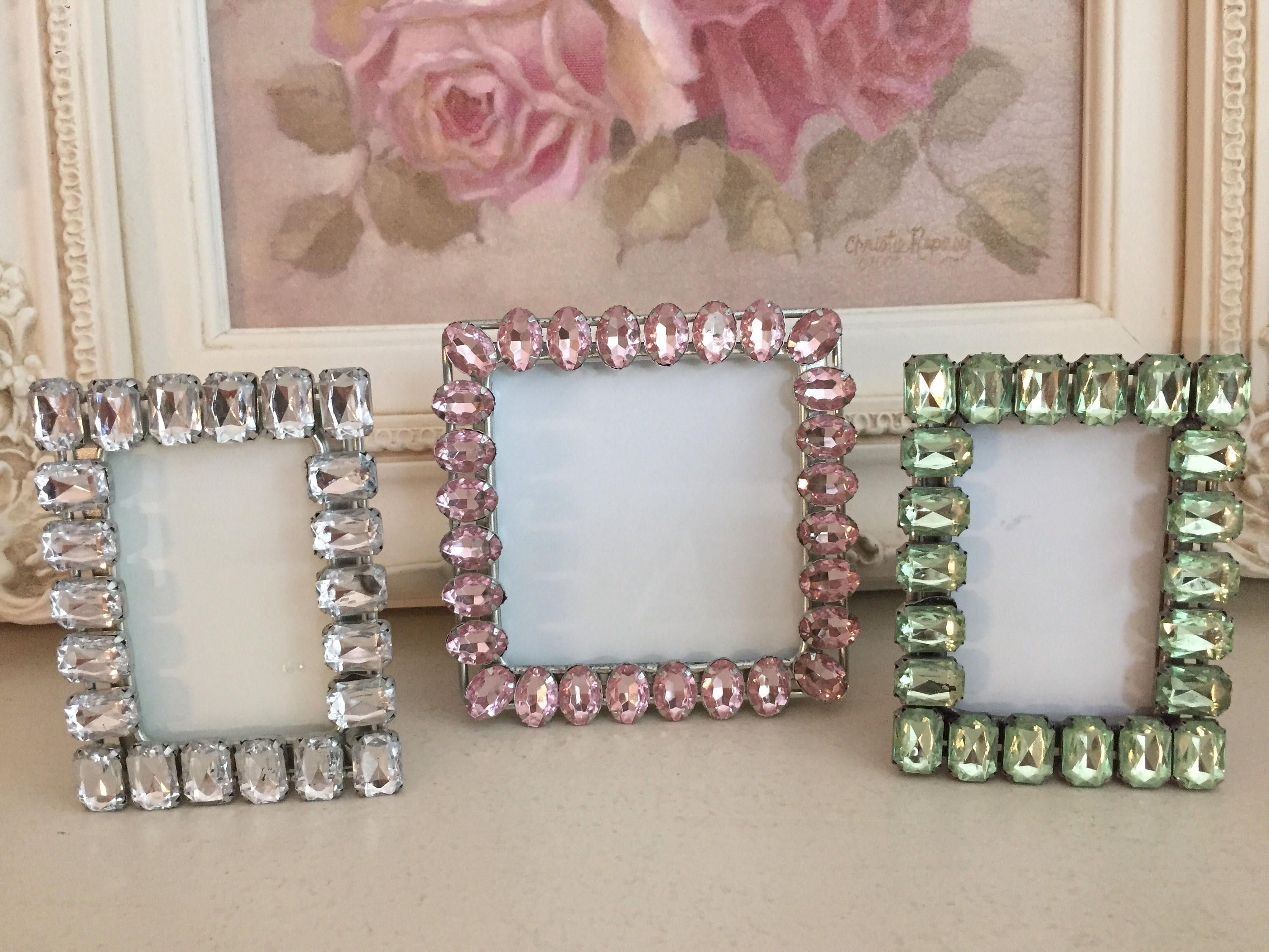Vintage Clear Pink Green Set of Three Rhinestone Picture Frames