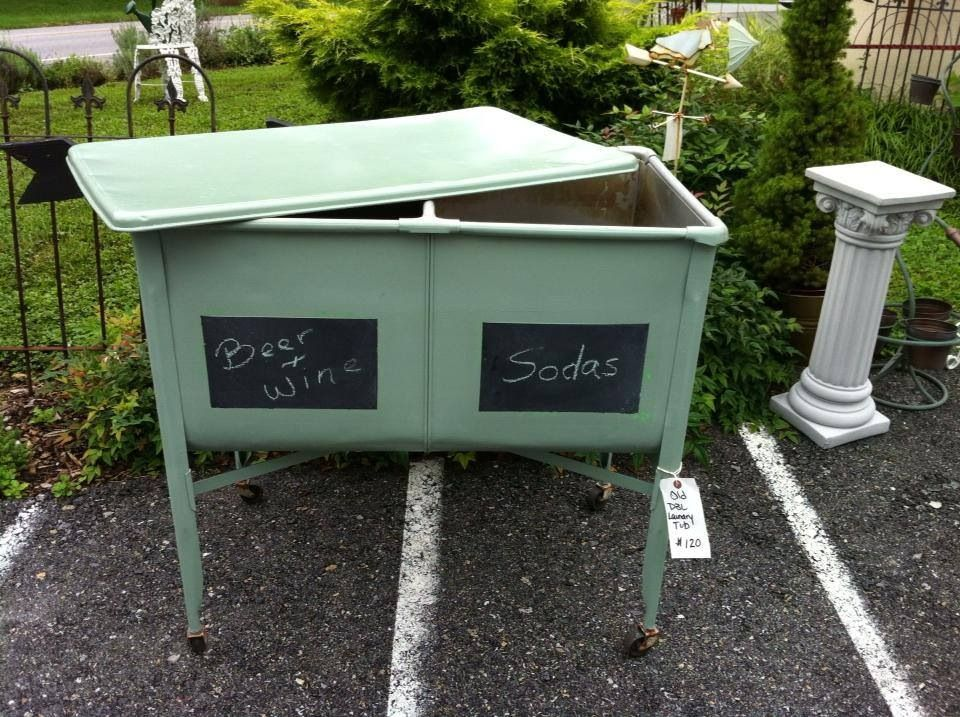 Vintage Double Laundry Tub Remake Spray Painted With Outdoor