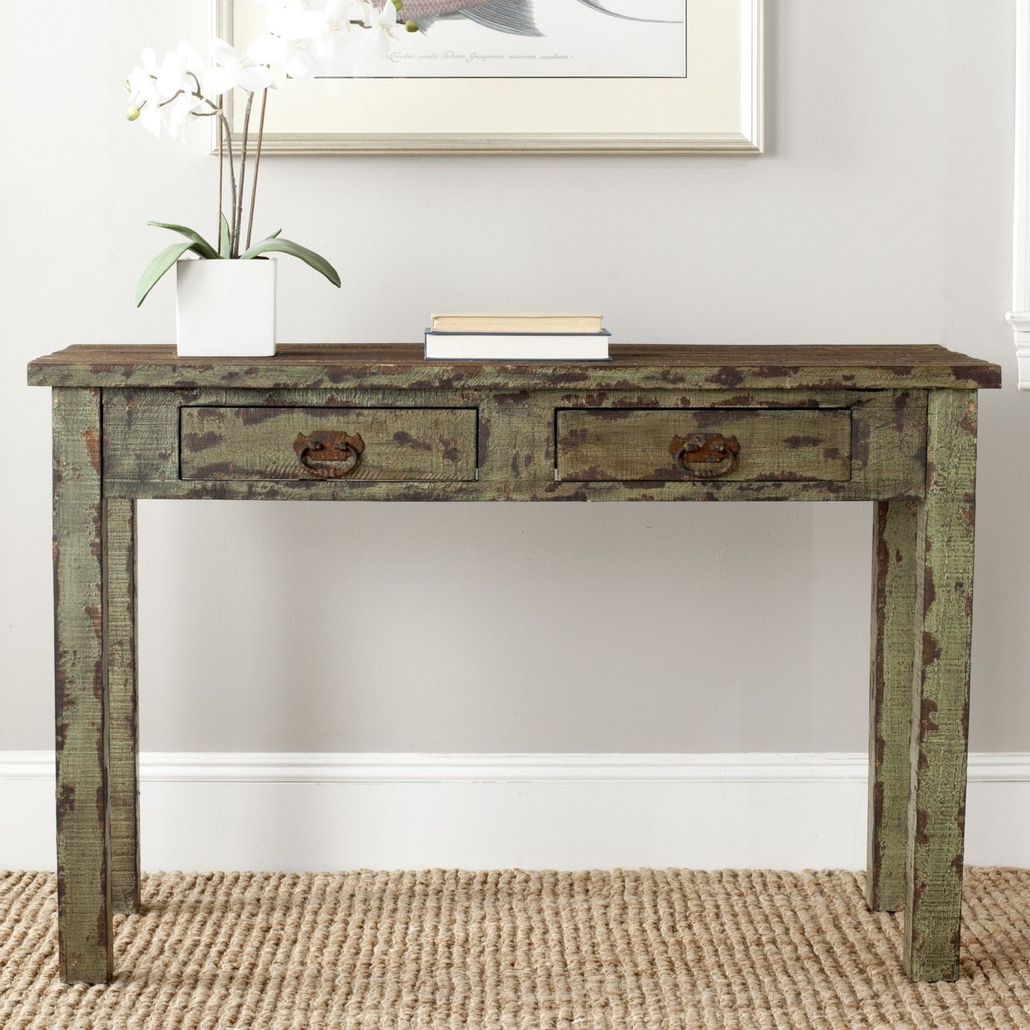 Safavieh carl antique green console table amha antique