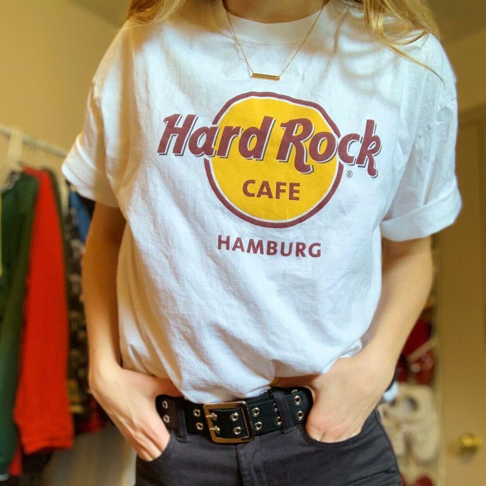 Hard Rock Cafe Hamburg Germany White T Shirt Essential Amazing Condition