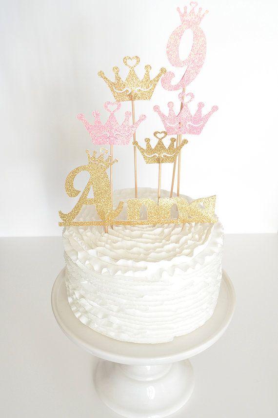 Cake topper Princesse - Personnalisé avec le Prénom et l'âge - décor de gâteau personnalisé pour anniversaire Princesse