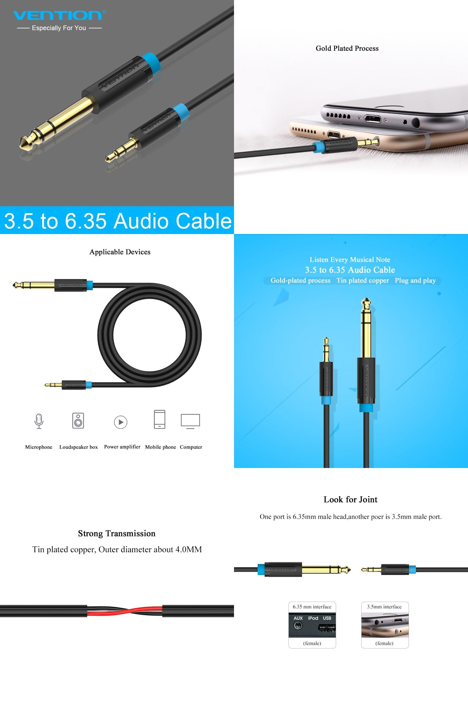 Visit to Buy] Vention 3.5mm to 6.5mm Adapter Jack Audio Cable for ...