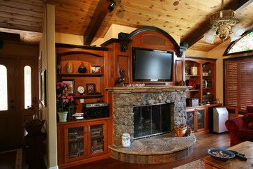 Entertainment Centers Built In Niches Farmhouse Family Rooms
