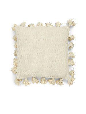 Tasseled Cotton Throw Pillow - Pink - Size No Size