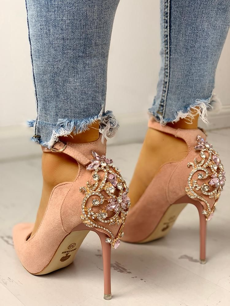 d79c91f46570 Gem-Studded Pointed Toe Ankle Strap Heels