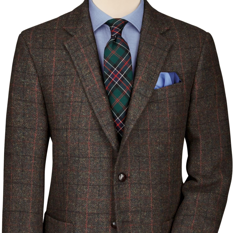 Dark green check Harris tweed classic fit jacket Men's