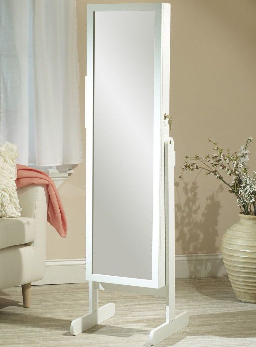 Makeup Organizational Jewelry Armoire with Mirror | White ...