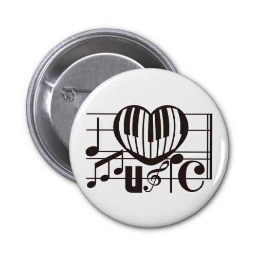 I LOVE MUSIC PINBACK BUTTON