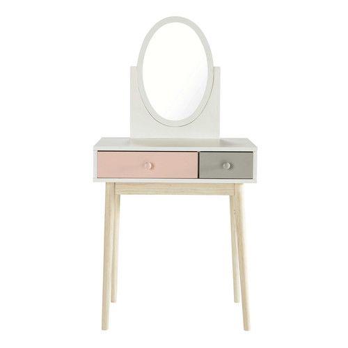 interesting offrezlui cette coiffeuse en bois blanche orne duun miroir pivotant cette petite. Black Bedroom Furniture Sets. Home Design Ideas