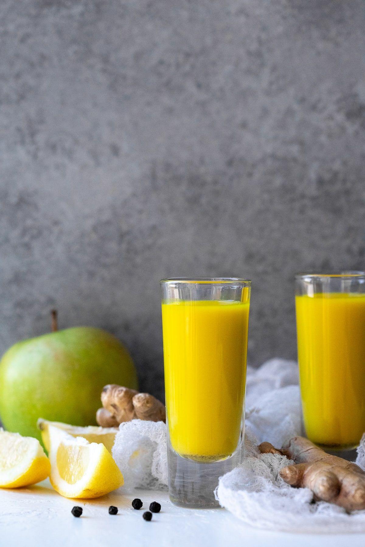 Ginger Turmeric Shots juicer recipe BrightEyed Baker