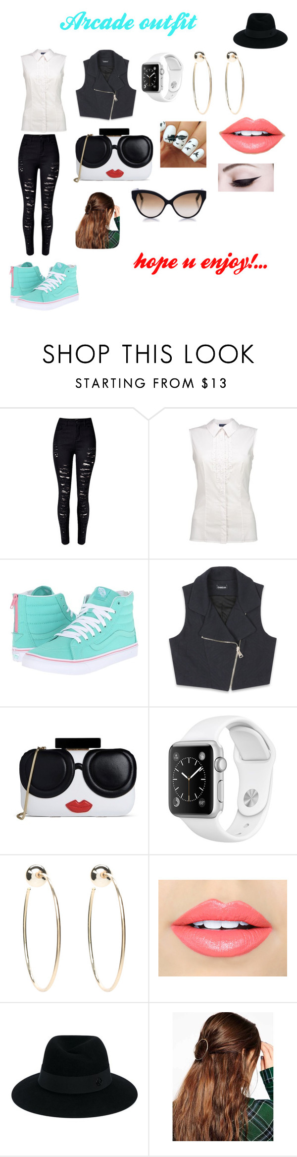 """""""Arcade outfit"""" by minions4ever123 ❤ liked on Polyvore featuring Vans, Bebe, Alice + Olivia, Fiebiger, Maison Michel, ASOS and Cutler and Gross"""