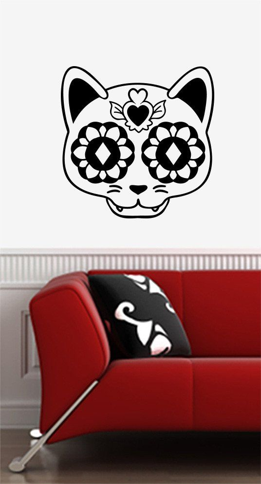 WALL Sugar Skull Cat Day Of The Dead Día De Los Muertos - Vinyl decal cat pinterest