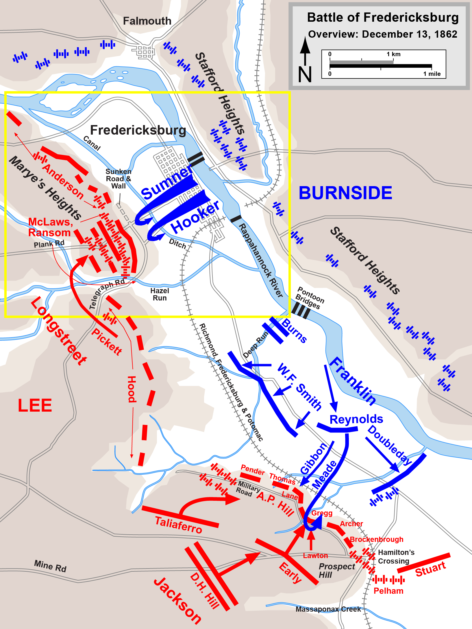 Fredericksburg Virginia Map.Map Battle Of Fredericksburg Overview December 13 1862