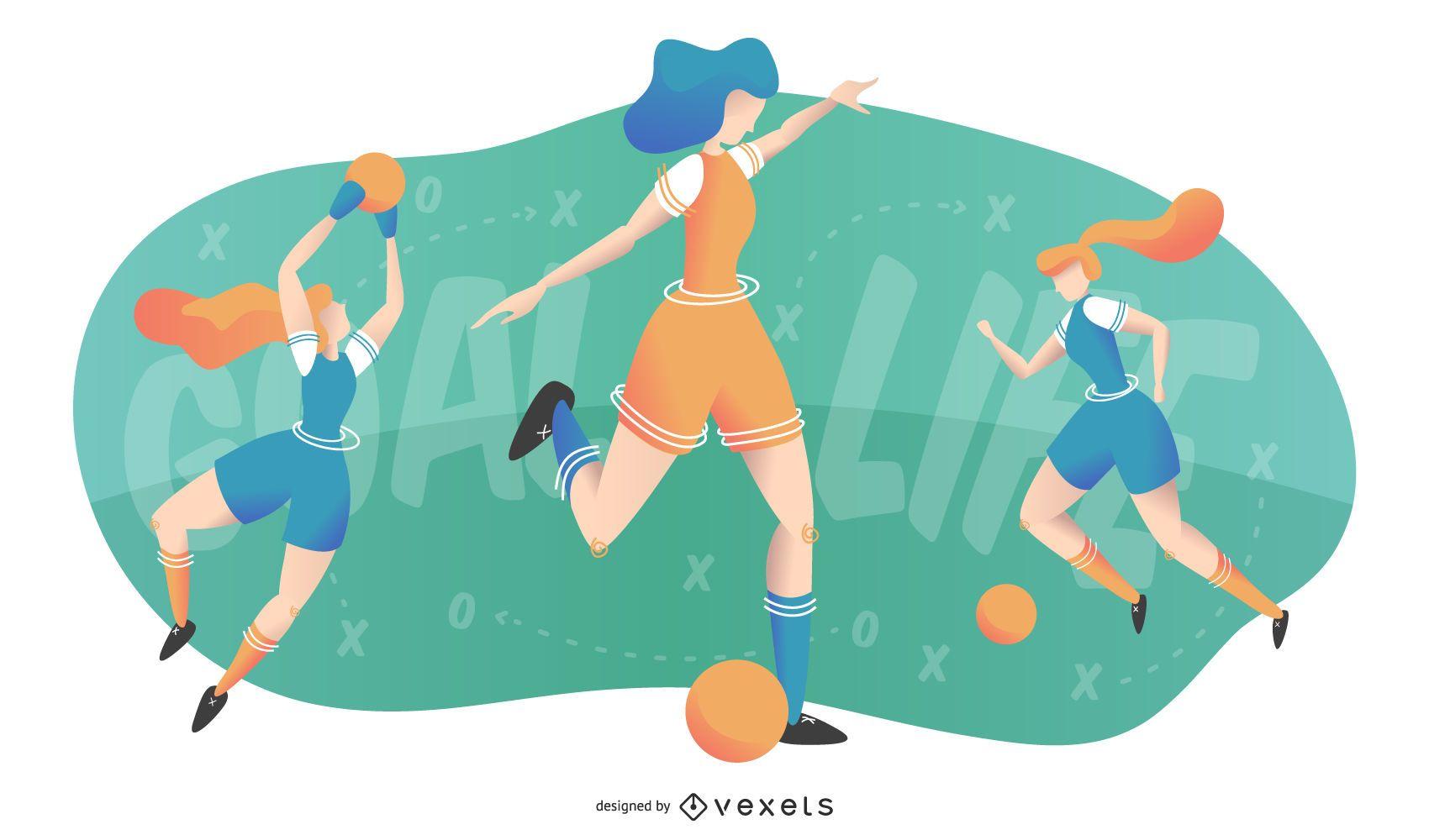 Women S Soccer Banner Design Soccer Banner Design Football Illustration Soccer Banner