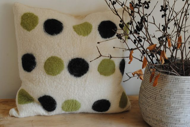 polka dot felt pillow