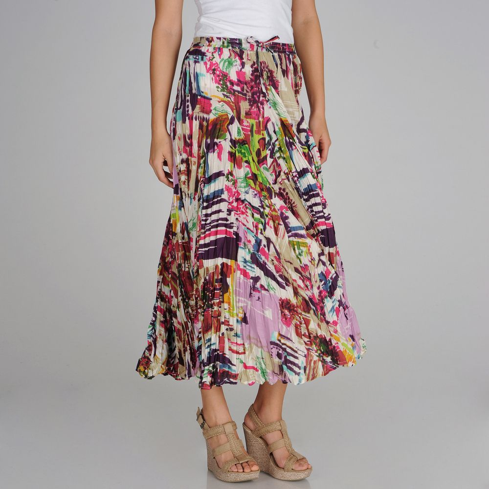 Grace Elements Abstract Printed Drawstring Waist Maxi Skirt