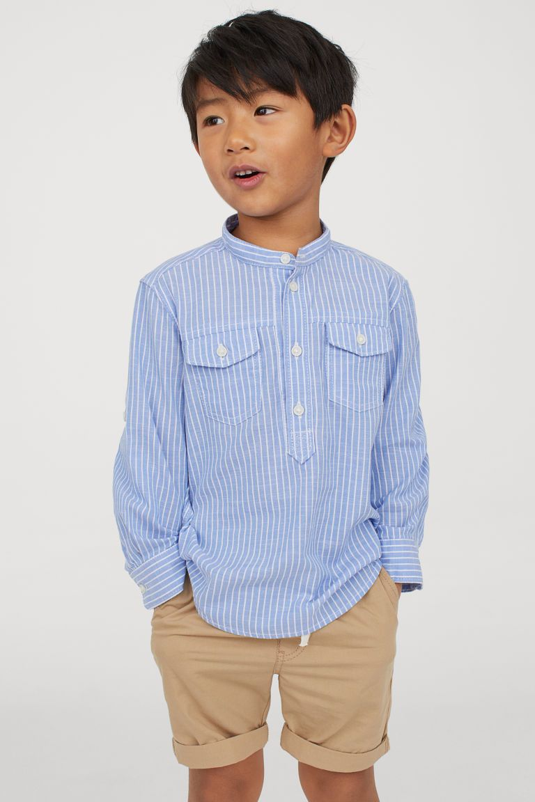 Band Collar Shirt Light Blue White Striped Kids H M Us Kids Outfits Kids Shirts Boys Cute Outfits For Kids [ 1152 x 768 Pixel ]