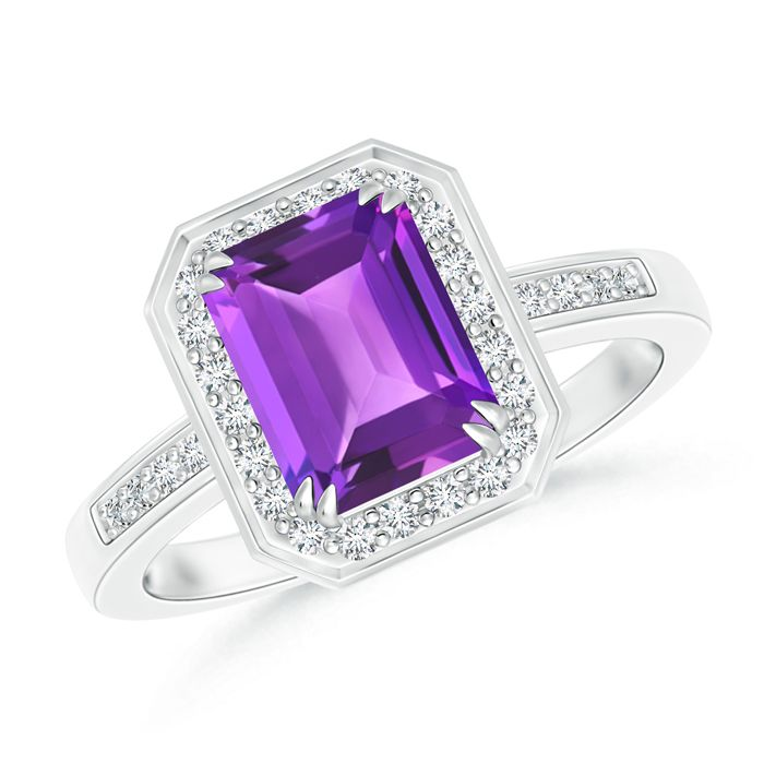 Angara Vintage Amethyst Diamond Halo Engagement Ring in White Gold