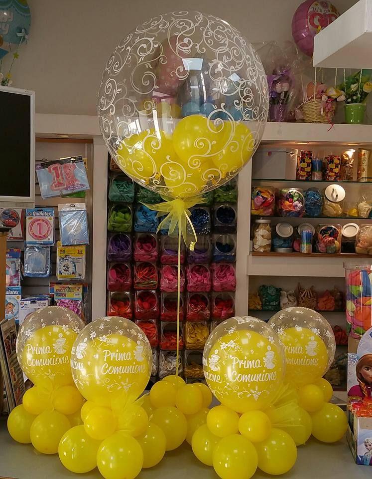Centrotavola con palloncini insider e alzatina per buffet tutto giallo allestimenti per - Composizione palloncini da tavolo ...