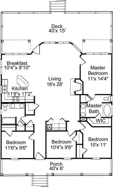 4 Bedroom 2 Bath Beach House Plan Alp 02ng Beach Cottage House Plans Cottage Floor Plans Beach House Plan