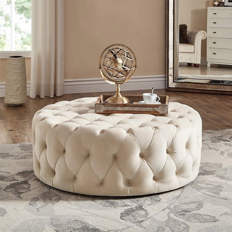 Tufted Ottoman Light Gray Pink Beige Deep Blue Velvet Ottoman Coffee Table Tufted Cocktail Ottoman Round Ottoman Pouf Small Large In 2020 Cocktail Ottoman Tufted Ottoman Ottoman Coffee