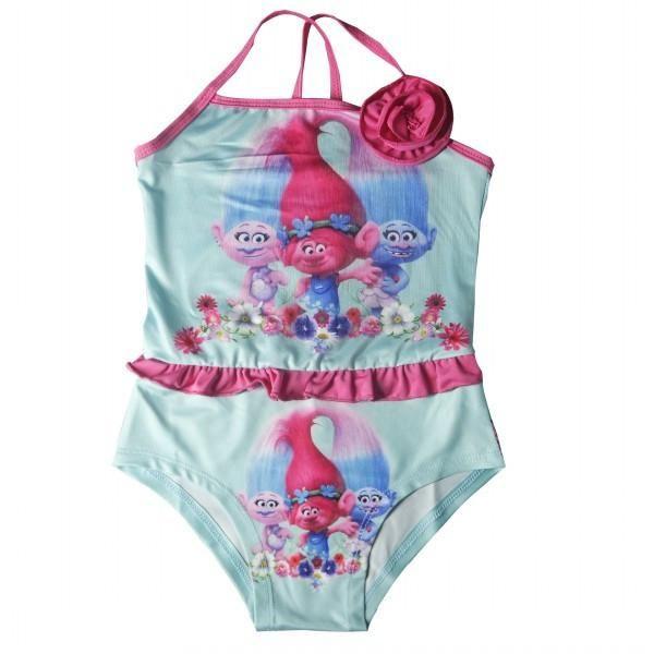 cc42d9fd4da34 EMS DHL Free Shipping toddler Little Girl's NEW Poppy Trolls Costume One  Piece Summer Style Suspender Swimsuits Beach Wear