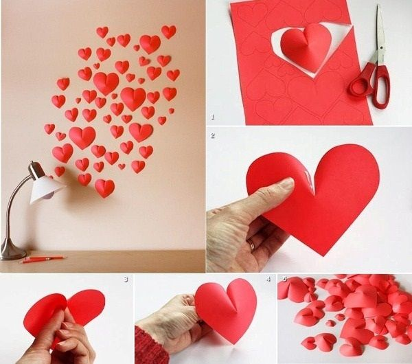 Schön Valentineu0027s Day DIY Idea: Make A Wall Of Paper Hearts