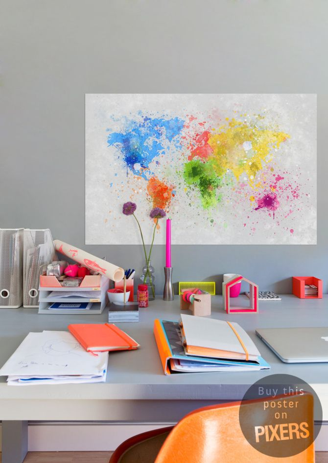 Print poster map colors print poster inspirations fancy paint splatter world map gumiabroncs Gallery