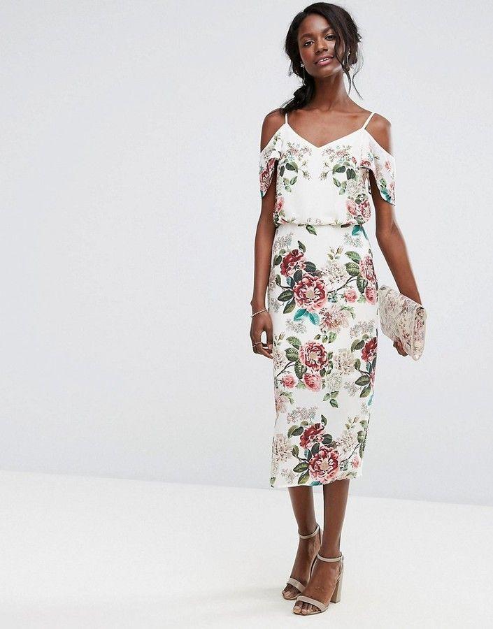 c2be487ad6 Oasis Royal Worcester Floral Print Cold Shoulder Dress