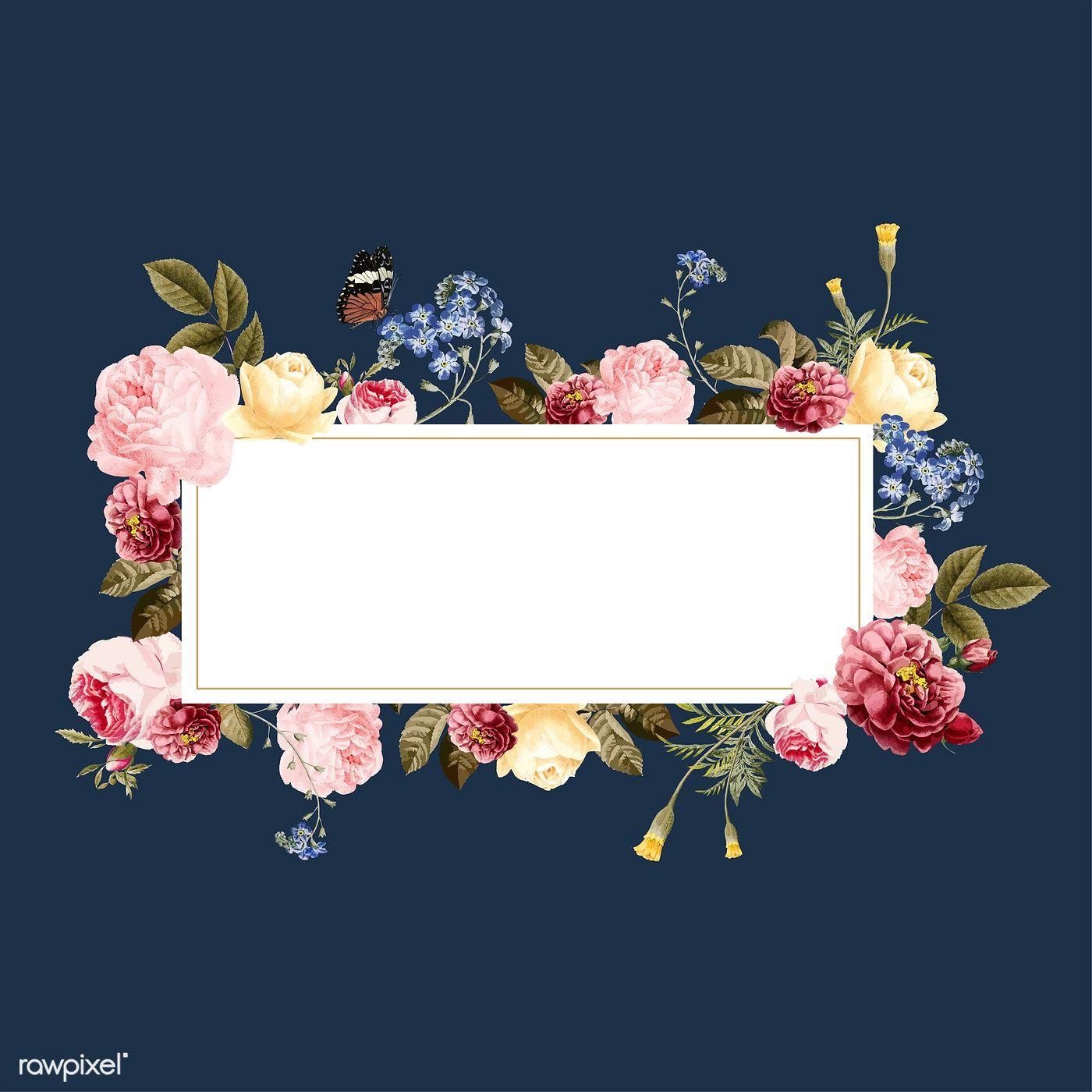 Download Premium Vector Of Blank Floral Frame Card Illustration 471735 Card Illustration Frame Card Floral Poster