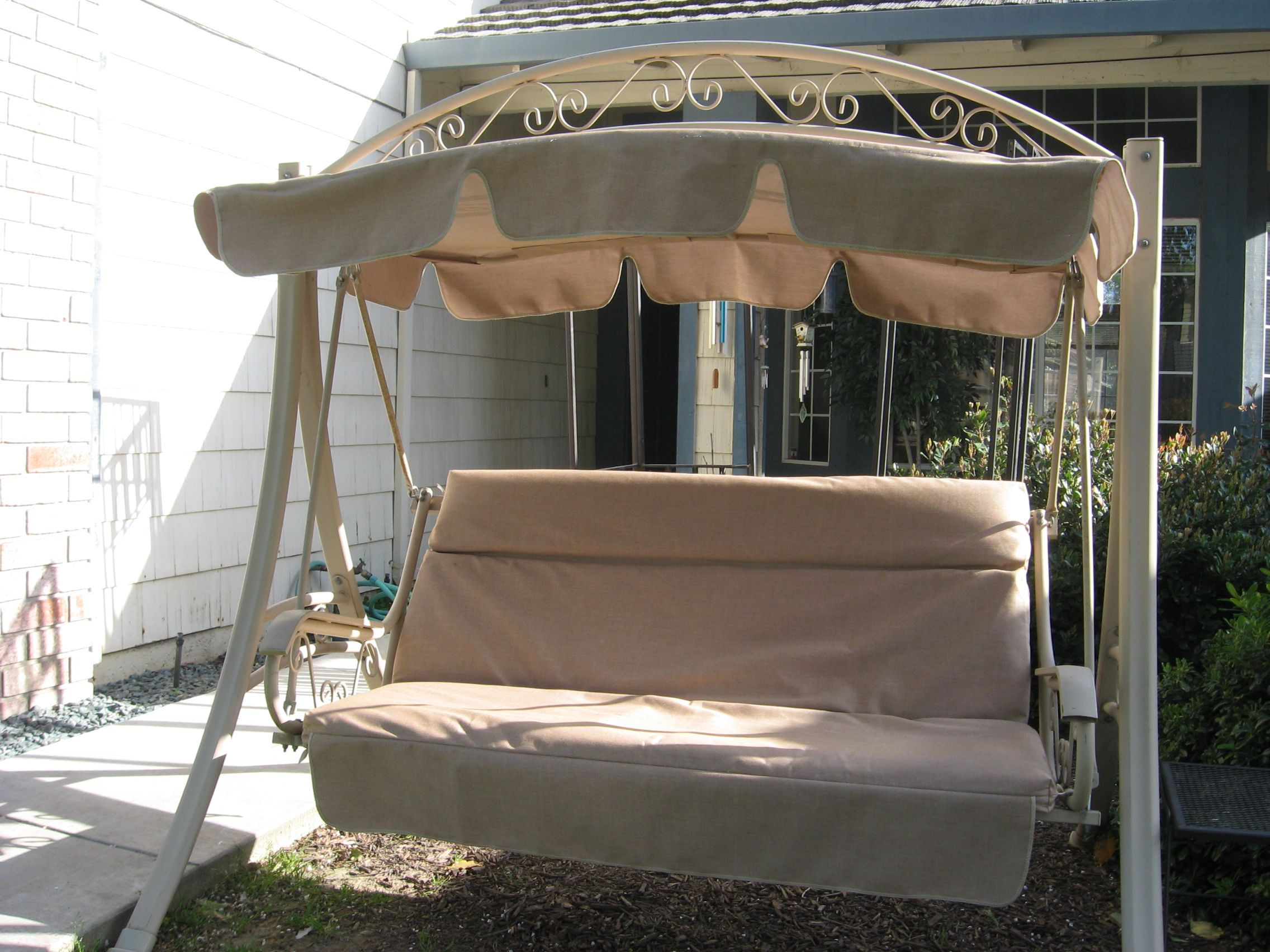 pin costco swing warranty refurbished canopy with cushion cover patio year fabric sunbrella heather beige
