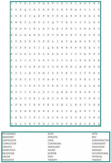 Continuing education word search for all professions