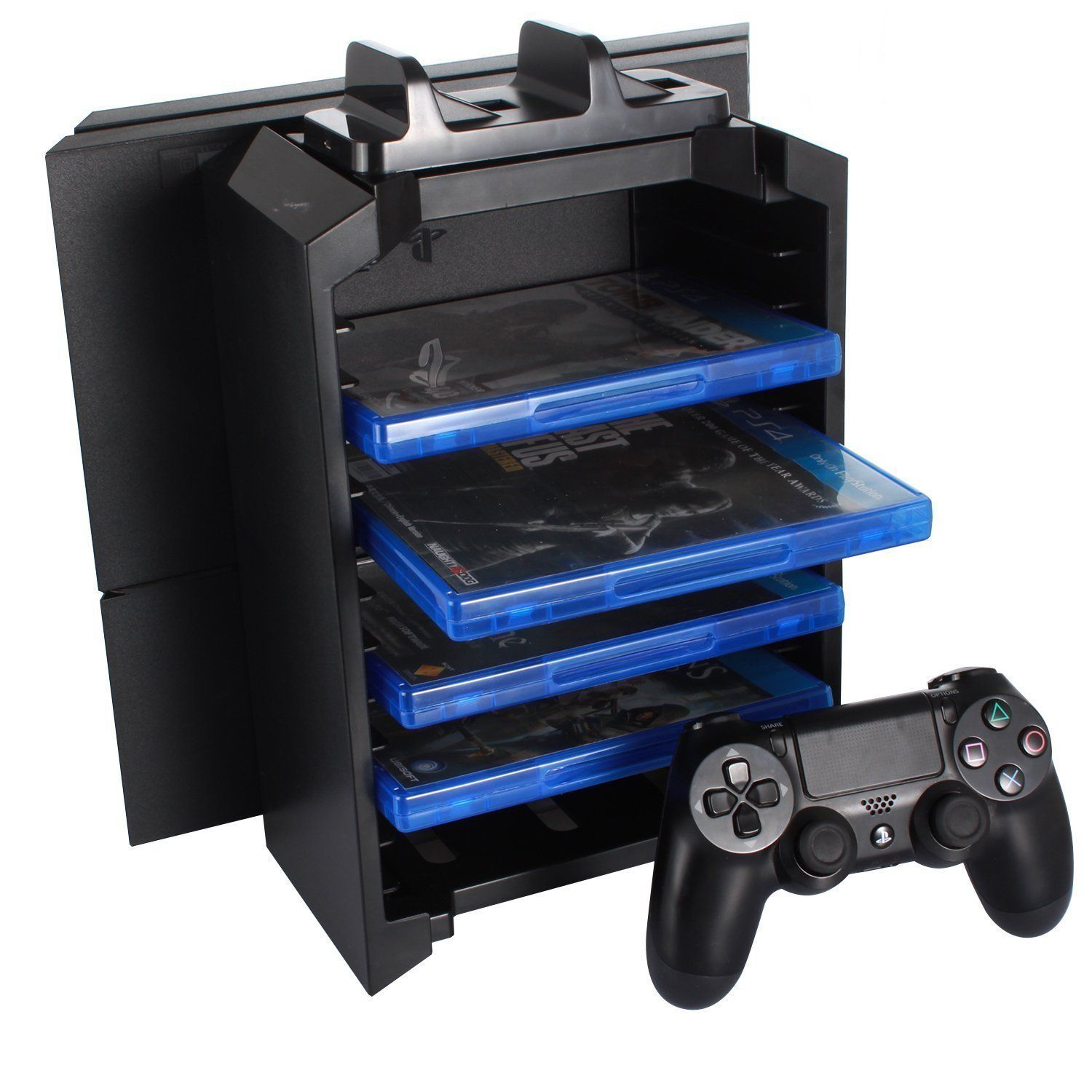 Konky Ps4 3 En 1 Multifonctions Station Playstation 4 Ps4 Slim Ps4 Pro Console Support Stand Vertical Ps4 Controle Playstation Stockage De Jeu Console