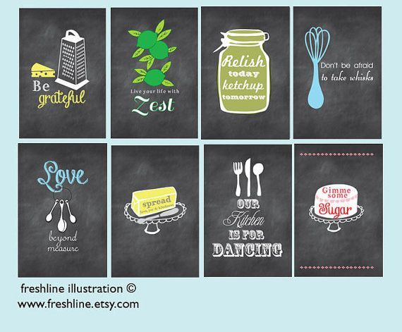 chalkboard inspired kitchen art set, funny kitchen signs, set of ...