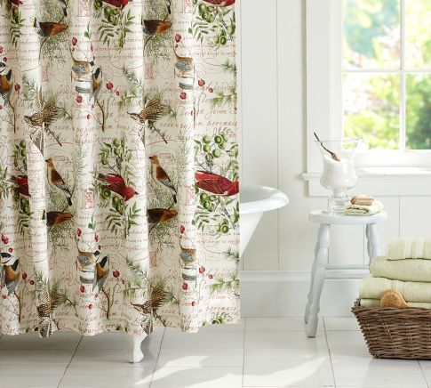 Winter Bird Shower Curtain Pottery Barn Changing Up To A Red