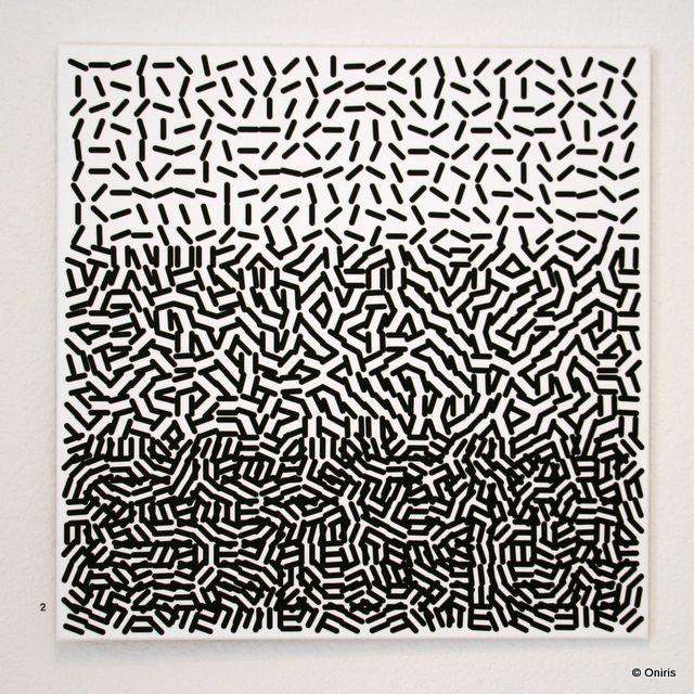 Vera Molnar Un Deux Trois D Acrylique Sur Toile 1957 2012 80x80cm Motif Abstrait Abstraction Geometrique Fond De Carte
