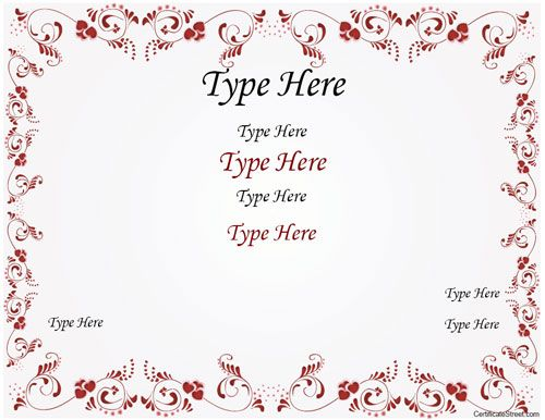 Blank Certificate - Wedding Certificate with Red Flowered Border - certificate border word