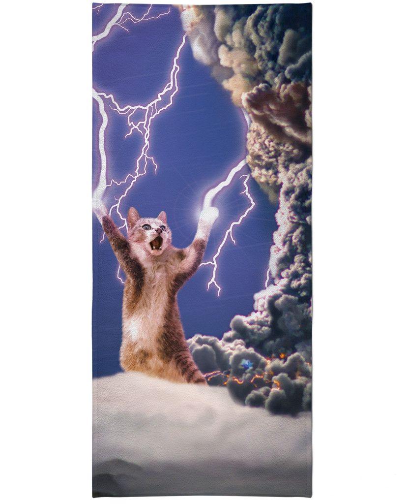 Funny Cat Towel Crazy Cat Lover Gift Monogram Beach Towel Giant Killer Cats