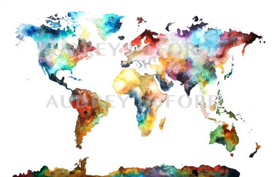 Multiple sizes watercolor map print world map watercolor world items similar to large watercolor map print world map watercolor painting on etsy gumiabroncs Images