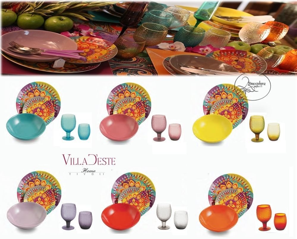 Villa d este servizio di piatti karma 18 pz 6 bicchieri for Piatti e bicchieri colorati
