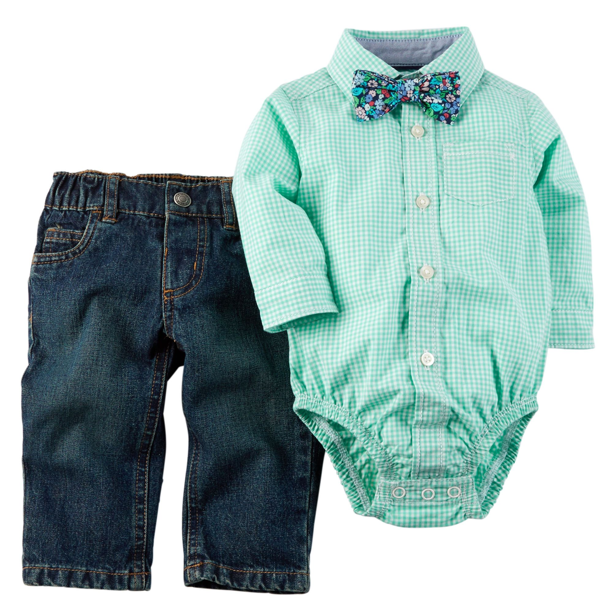 Baby Boys Long Sleeve Bow-Tied Button-Up Bodysuit And Pants Set ...