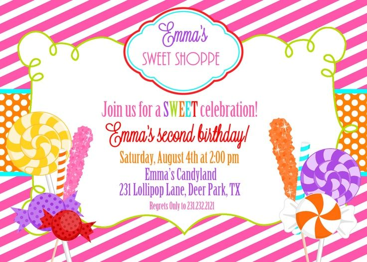 Candyland Invitations Printable