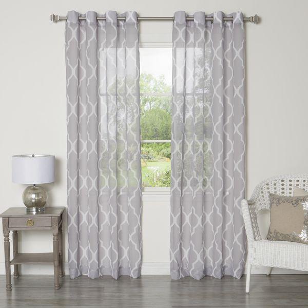 Aurora Home Sheer Moroccan Grommet Top 84 Inch Curtain