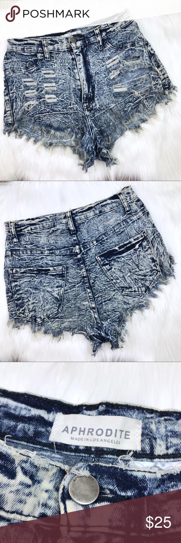 "871d8ac0ea [Aphrodite] High Waist Acid Wash Distressed Shorts Aphrodite High Waist  Acid Wash Distressed Stretch Denim Shorts size Medium. 12"" rise. Made in  USA."